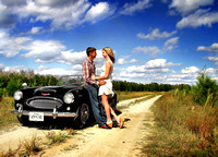 New Bern, NC + Classic car Engagement photography + 8