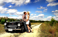 Classic car Engagement photography + New Bern, NC + The long road 2