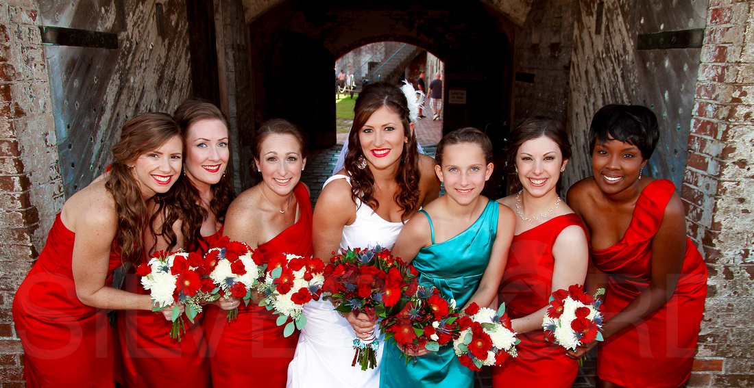 Ft. Macon State Park bridal party portrait