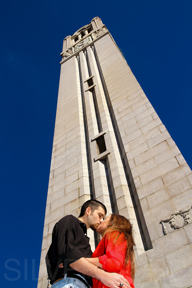 NC State Engagement photography + A moment at the Memorial Bell tower in Raleigh NC