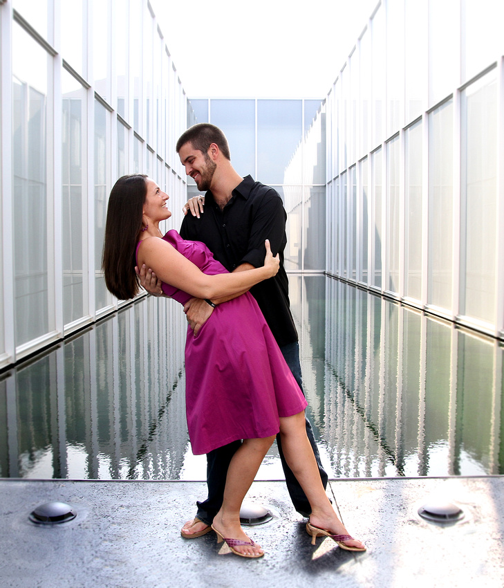 Engagement Photography + Raleigh, NC + The NC Museum of Art + glass dip
