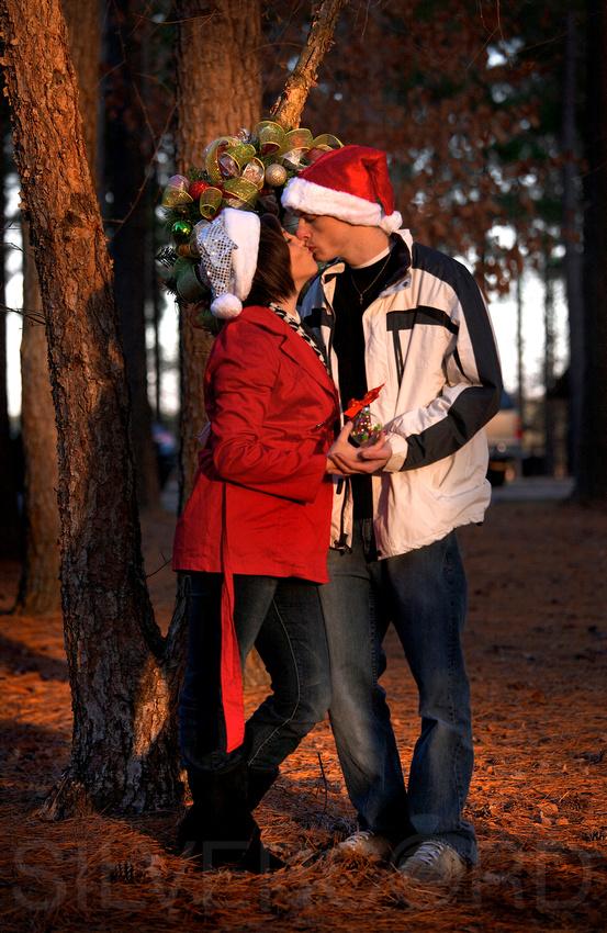 Christmas themed + Engagement photography + Raleigh NC