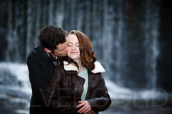 Wintertime engagement photography portrait at Yates Mill Park in Raleigh NC
