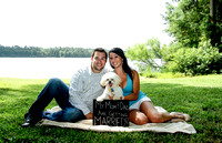 Harris Lake Park + Engagement Photo + A dog holding an engagement announcement sign